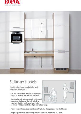 Data leaflet Brackets for upper cabinets and worktops