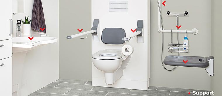 grab rail and shower rail / Brusestænger support points