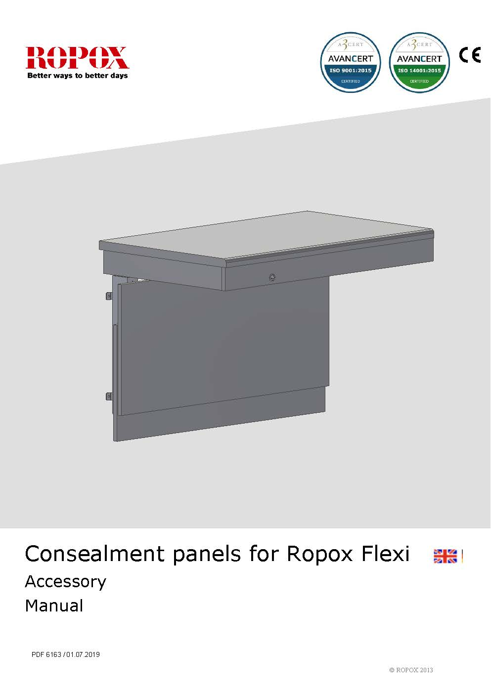 Ropox user & mounting manual - Accesory Consealment panels Flexi worktops