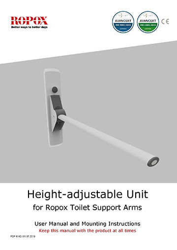 Toilet Support Arms Height adjustable unit